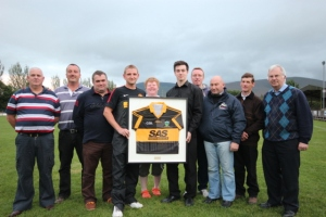 (L-R) Eugene McCormack (Manager), Micheal Broderick (Treasurer), John Whites (SAS), Dermot Molloy (Captain), Catherine Mockler (Secretary), Tony O'Brien (Vice-Captain), Michael Nash (Coach), Richie White (SAS), Jim McGrath, Nicholas Moroney (Chairman)